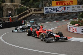 © Octane Photographic Ltd. 2012. F1 Monte Carlo - Practice 2. Thursday 24th May 2012. Charles Pic - Marussia and Nico Rosberg - Mercedes. Digital Ref : 0352cb7d8023