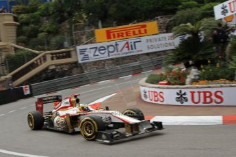 © Octane Photographic Ltd. 2012. F1 Monte Carlo - Practice 2. Thursday 24th May 2012. Pedro de la Rosa - HRT. Digital Ref : 0352cb7d8055