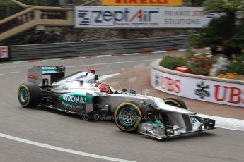 © Octane Photographic Ltd. 2012. F1 Monte Carlo - Practice 2. Thursday 24th May 2012. Michael Shumacher - Mercedes. Digital Ref : 0352cb7d8140