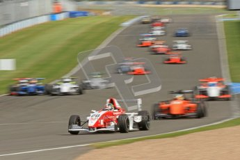 © Octane Photographic Ltd. 2012. Donington Park. Saturday 18th August 2012. Formula Renault BARC Race 1. Kieran Vernon - Hillspeed, leads the battle for 3rd early in the race. Digital Ref : 0462cb7d0594