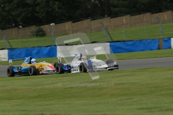 © Octane Photographic Ltd. 2012. Donington Park. Sunday 19th August 2012. Formula Renault BARC Race 2. Jorge Cevallos - Mtech Lite Ltd and Oliver Sirrell - ACS Motorsport. Digital Ref : 0463lw1d3416