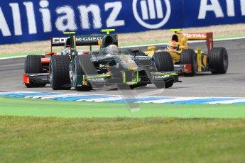 © 2012 Octane Photographic Ltd. German GP Hockenheim - Saturday 21st July 2012 - GP2 Race 1 - Caterham Racing - Giedo van der Garde leads Luiz Razia and Max Chilton. Digital Ref : 0419lw1d4101