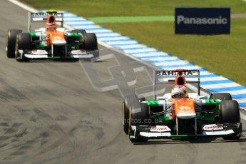© 2012 Octane Photographic Ltd. German GP Hockenheim - Sunday 22nd July 2012 - F1 Race. Force India VJM05 - Paul di Resta and Nico Hulkenberg. Digital Ref : 0423lw1d4920
