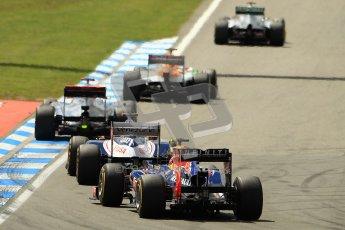 © 2012 Octane Photographic Ltd. German GP Hockenheim - Sunday 22nd July 2012 - F1 Race. Mercedes W03 - Michael Schumacher leads Nico Hulkenberg, Jenson Button and Pastor Maldonado and Mark Webber out of the hairpin. Digital Ref : 0423lw1d4954