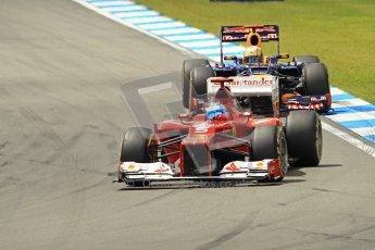 © 2012 Octane Photographic Ltd. German GP Hockenheim - Sunday 22nd July 2012 - F1 Race. Ferrari F2012 - Fernando Alonso and Red Bull RB8 - Sebastian Vettel. Digital Ref : 0423lw1d5003