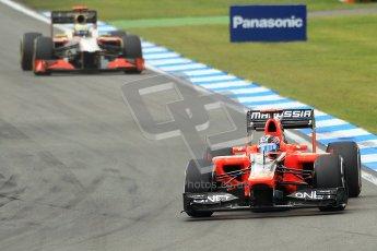© 2012 Octane Photographic Ltd. German GP Hockenheim - Sunday 22nd July 2012 - F1 Race. Marussia MR01 - Timo Glock and HRT F112 - Pedro de La Rosa. Digital Ref : 0423lw1d5099
