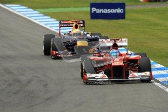© 2012 Octane Photographic Ltd. German GP Hockenheim - Sunday 22nd July 2012 - F1 Race. Ferrari F2012 - Fernando Alonso and Red Bull RB8 - Sebastian Vettel. Digital Ref : 0423lw1d5115
