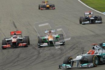 © 2012 Octane Photographic Ltd. German GP Hockenheim - Sunday 22nd July 2012 - F1 Race. Force India VJM05 -  Nico Hulkenberg is taken by Jenson Button's McLaren into the hairpin as Pastor Maldonado and Mark Webber start to fall back. Digital Ref : 0423lw1d5224