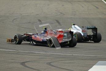 © 2012 Octane Photographic Ltd. German GP Hockenheim - Sunday 22nd July 2012 - F1 Race. Mercedes W03 - Nico Rosberg and Toro Rosso STR7 - Daniel Ricciardo. Digital Ref : 0423lw1d5399
