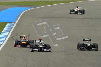 © 2012 Octane Photographic Ltd. German GP Hockenheim - Sunday 22nd July 2012 - F1 Race. Red Bull RB8 - Mark Webber with DRS open moves on the Williams of Pastor Maldonado. Digital Ref : 0423lw1d5414