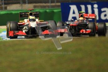 © 2012 Octane Photographic Ltd. German GP Hockenheim - Sunday 22nd July 2012 - F1 Race. HRT F112 - Pedro de La Rosa and McLaren MP4/27 - Lewis Hamilton. Digital Ref : 0423lw1d5688