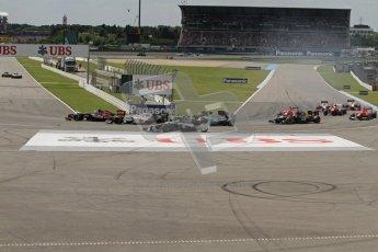 © 2012 Octane Photographic Ltd. German GP Hockenheim - Sunday 22nd July 2012 - F1 Race. Bruno Senna runs wide around the hairpin on the opening lap. Digital Ref : 0423lw7d8598