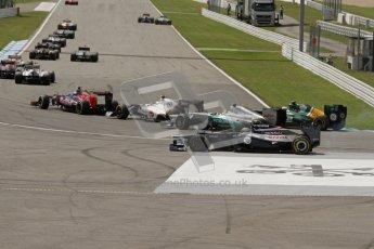 © 2012 Octane Photographic Ltd. German GP Hockenheim - Sunday 22nd July 2012 - F1 Race. Bruno Senna runs wide around the hairpin on the opening lap. Digital Ref : 0423lw7d8605