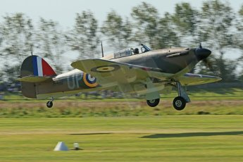 © 2012 Octane Photographic Ltd. Goodwood Revival. September 15th 2012. Hurricane landing. Digital Ref : 0521cb1d9906