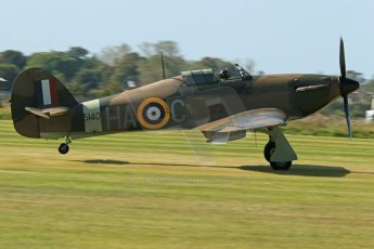 © 2012 Octane Photographic Ltd. Goodwood Revival. September 15th 2012. Hurricane landing. Digital Ref : 0521cb1d9965