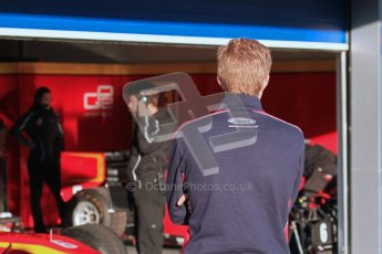 © Octane Photographic Ltd. GP2 Winter testing Jerez Day 1, Tuesday 28th February 2012. iSport International, Marcus Ericsson watches the activity in the Racing Engineering garage. Digital Ref :