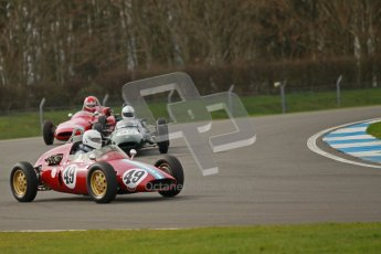 © Octane Photographic Ltd. HSCC Donington Park 17th March 2012. Historic Formula Junior Championship (Rear engine).. Mike Gregory - De Tomaso ISIS. Digital ref : 0243cb1d7391