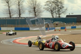 © Octane Photographic Ltd. HSCC Donington Park 17th March 2012. Historic Formula Junior Championship (Rear engine).. Mike Gregory - De Tomaso ISIS. Digital ref : 0243lw7d6832