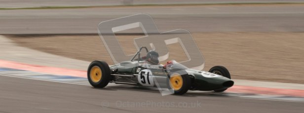 © Octane Photographic Ltd. HSCC Donington Park 17th March 2012. Historic Formula Junior Championship (Rear engine).. Michael Hibberd - Lotus 27. Digital ref : 0243lw7d7068
