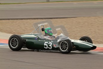 © Octane Photographic Ltd. HSCC Donington Park 17th March 2012. Historic Formula Junior Championship (Rear engine).. Sam Wilson - Cooper T59. Digital ref : 0243lw7d7319