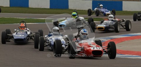 © Octane Photographic Ltd. HSCC Donington Park 17th March 2012. Historic Formula Ford Championship. Simon Baines - Merlyn Mk20 followed by David Wild - Lola T200. . Digital ref : 0240lw7d4357
