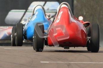 © Octane Photographic Ltd. HSCC Donington Park 17th March 2012. Historic Formula Junior Championship (Front engine). Gordon Wright - Stanguellini and Jan Biekens - Stanguellini FJ. Digital ref : 0241cb7d3916