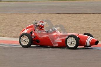 © Octane Photographic Ltd. HSCC Donington Park 17th March 2012. Historic Formula Junior Championship (Front engine). Crispian Besley - Elva 100. Digital ref : 0241lw7d5947