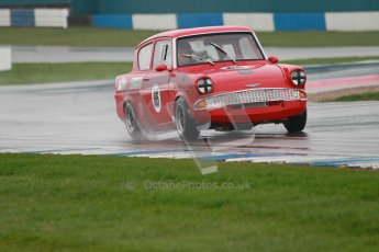 © Octane Photographic Ltd. HSCC Donington Park 18th May 2012. Historic Touring car Championship (up to 1600cc). Andrew Law - Ford Anglia 105E. Digital ref : 0246cb1d7957