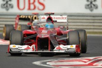 © 2012 Octane Photographic Ltd. Hungarian GP Hungaroring - Sunday 29th July 2012 - F1 Race. Ferrari F2012 - Fernando Alonso and Lotus E20 - Kimi Raikkonen. Digital Ref :