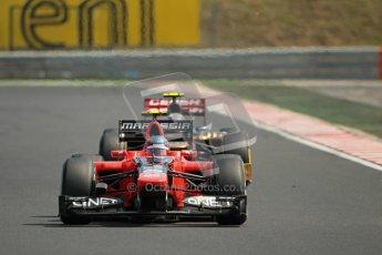 © 2012 Octane Photographic Ltd. Hungarian GP Hungaroring - Sunday 29th July 2012 - F1 Race. Marussia MR01 - Charles Pic and Toro Rosso STR7 - Jean-Eric Vergne. Digital Ref :