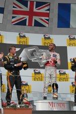 © 2012 Octane Photographic Ltd. Hungarian GP Hungaroring - Sunday 29th July 2012 - F1 Podium. Lewis Hamilton - Race winner and Kimi Raikkonen, 2nd. Digital Ref :