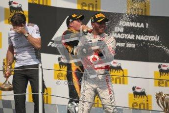 © 2012 Octane Photographic Ltd. Hungarian GP Hungaroring - Sunday 29th July 2012 - F1 Podium. Lewis Hamilton - Race winner, Sam Michael and Kimi Raikkonen, 2nd. Digital Ref :