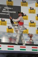 © 2012 Octane Photographic Ltd. Hungarian GP Hungaroring - Sunday 29th July 2012 - F1 Podium. Lewis Hamilton - Race winner, sprays the champaign. Digital Ref :