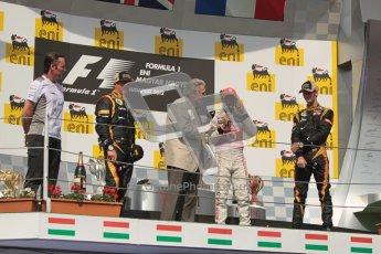 © 2012 Octane Photographic Ltd. Hungarian GP Hungaroring - Sunday 29th July 2012 - F1 Podium. Lewis Hamilton - Race winner, Kimi Raikkonen, 2nd and Romain Grosjean, 3rd, interviews. Digital Ref :