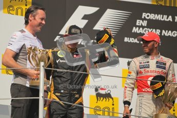 © 2012 Octane Photographic Ltd. Hungarian GP Hungaroring - Sunday 29th July 2012 - F1 Podium. Sam Michael, Lewis Hamilton - Race winner, and Kimi Raikkonen, 2nd. Digital Ref :