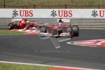 © 2012 Octane Photographic Ltd. Hungarian GP Hungaroring - Sunday 29th July 2012 - F1 Race. Ferrari F2012 - Fernando Alonso and Felipe Massa. Digital Ref :