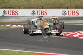 © 2012 Octane Photographic Ltd. Hungarian GP Hungaroring - Sunday 29th July 2012 - F1 Race. Force India VJM05 - Nico Hulkenberg and Red Bull RB8 - Mark Webber. Digital Ref :