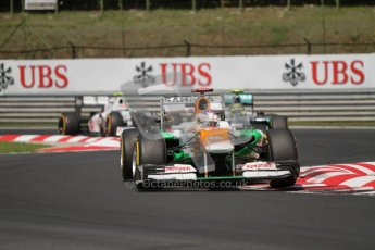 © 2012 Octane Photographic Ltd. Hungarian GP Hungaroring - Sunday 29th July 2012 - F1 Race. Force India VJM05 - Paul di Resta, Mercedes W03 - Michael Schumacher and Sauber C31 - Sergio Perez. Digital Ref :