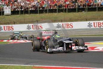 © 2012 Octane Photographic Ltd. Hungarian GP Hungaroring - Sunday 29th July 2012 - F1 Race. Williams FW34 - Bruno Senna, Ferrari F2012 - Felipe Massa and Mercedes W03 - Nico Rosberg. Digital Ref :