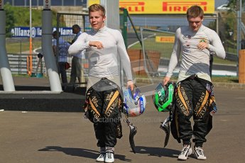 © 2012 Octane Photographic Ltd. Hungarian GP Hungaroring - Saturday 27th July 2012 - GP3 Paddock. Lotus GP - Aaro Vainio and Conor Daly. Digital Ref : 0424cb7d9614