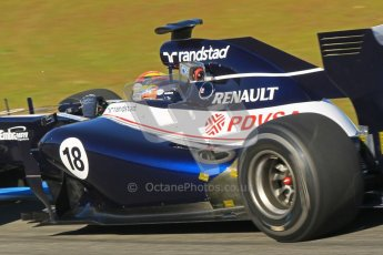 © 2012 Octane Photographic Ltd. Jerez Winter Test Day 1 - Tuesday 7th February 2012. Williams FW34 - Pastor Maldonado running with what is probably a thermal camera to monotor the new exhaust system. Digital Ref : 0217lw7d3902
