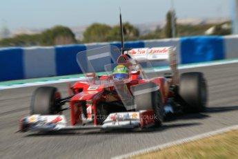 © 2012 Octane Photographic Ltd. Jerez Winter Test Day 1 - Tuesday 7th February 2012. Ferrari F2012 - Felipe Massa. Digital Ref : 0217lw7d4267_blur