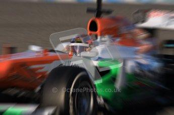 © 2012 Octane Photographic Ltd. Jerez Winter Test Day 2 - Wednesday 8th February 2012. Force India VJM05 - Jules Bianchi. Digital Ref : 0218lw1d5459_blur