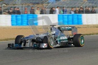 © 2012 Octane Photographic Ltd. Jerez Winter Test Day 3 - Thursday 9th February 2012. Mercedes MGP W02 - Nico Rosberg. Digital Ref : 0219lw1d7246