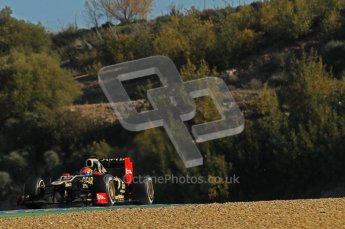 © 2012 Octane Photographic Ltd. Jerez Winter Test Day 3 - Thursday 9th February 2012. Lotus E20 - Romain Grosjean. Digital Ref : 0219lw1d7456