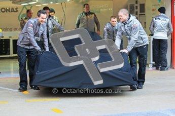 © 2012 Octane Photographic Ltd. Barcelona Winter Test 1 Day 1 - Tuesday 21st February 2012. Mercedes W03 Pit Lane Launch. Digital Ref : 0225lw1d5826