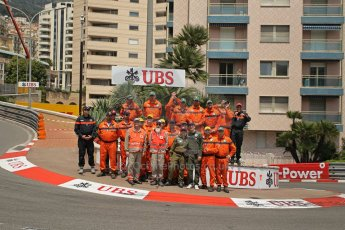 © Octane Photographic Ltd. 2012. F1 Monte Carlo - Race. Sunday 27th May 2012. The marshal team at post 6 - Fairmont Hotel Hairpin. Digital Ref : 0357cb1d7659