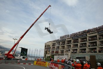 © Octane Photographic Ltd. 2012. F1 Monte Carlo - Race. Sunday 27th May 2012. Pastor Maldonado retires at the Fairmont hotel hairpin with front wing damage - Williams. Digital Ref : 0357cb1d7764
