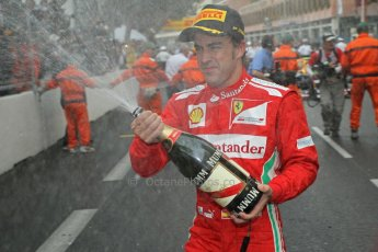 © Octane Photographic Ltd. 2012. F1 Monte Carlo - Race. Sunday 27th May 2012. Fernando Alonso - Ferrari - cerebrates. Digital Ref : 0357cb1d8052