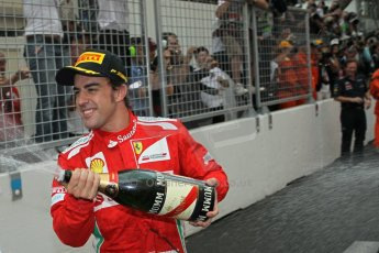 © Octane Photographic Ltd. 2012. F1 Monte Carlo - Race. Sunday 27th May 2012. Fernando Alonso - Ferrari - cerebrates. Digital Ref : 0357cb1d8064